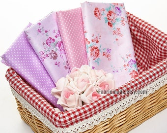 Rose Cotton Fabric Purple Pink Flower Polka Dots Cotton Shabby Chic Fabric Cotton- 1/2 yard