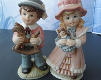 Set of 2 Homco Home Interiors  Figurines Number 1419 Victorian Boy & Girl  1597