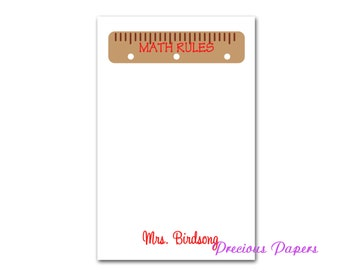 Personalized Teacher note pads Personalized math teacher gifts teacher note pads ruler note pad