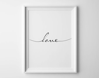 Love poster Love script Love handwritten Handwritten print First apartment gift Love sign Love printable Love quote Summer outdoors