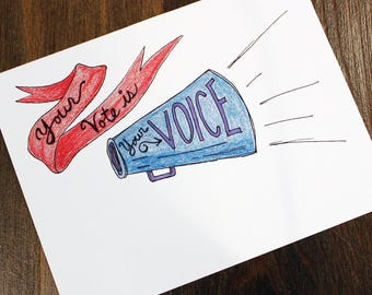 Your Vote is Your Voice - Printable Postcards to Voters -  Hand Drawn Color Pencil Postcard - Political Postcards