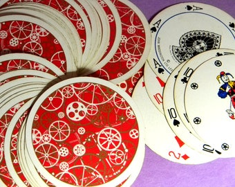 Retro Steampunk Red Round Playing Cards. Novel Waddington's Rondo Gear Embellished Playing Cards from the 60's or 70's. Full Deck w/Jokers.