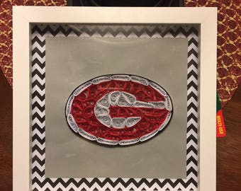 Georgia Bulldog Football 8x8 Paper Quilled Picture