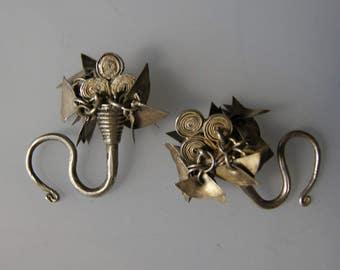 Antique Tribal Hmong Laos Hilltribe Silver Ear Ornament Pair