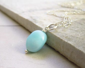 Light Blue Peruvian Opal Charm - Sterling Silver Charms - 14k Gold Charms - Sky Blue Opal Jewelry - Born in October Birthstone Jewelry