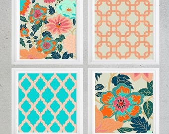 Orange Turquoise Navy Pink Floral wall art- Set of 4 Choose size! Modern gallery prints-Made in USA