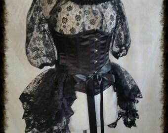 Plus Size Halloween Black Lace Bustle Skirt  STEAMPUNK GOTH
