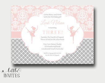Ballerina birthday invitation/printable/Ballet Invitation/Dancing Invite/Girls birthday/Ballerina Party/Ballet Birthday Party/Damask-Leah