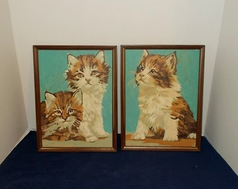 Pair Vintage 1950s or 1960s Kitty-Cat-Kitten Paint by Number Portraits / Pictures-Framed