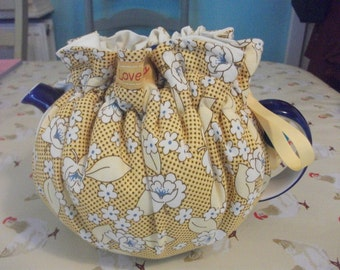 Cotton fabric drawstring tea cosy cotton lined choose your own fabric