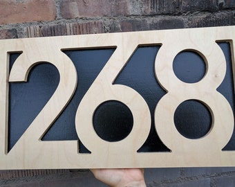 """11"""" Raised Lettering Address Number sign in Baltic Birch plywood 1"""" Housewarming, Street Sign, House Number, Number Plaque, carved sign"""