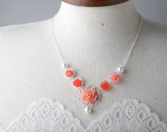 Bridal Necklace, Coral Necklace, vintage style necklace, bridesmaid necklace, Coral flower necklace, coral wedding jewelry, garden wedding