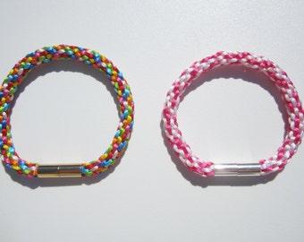 Kumihimo bracelet, tressed bracelet, braided bracelet, satin cord jewelry, xmas gift idea, women bracelet, colorful bracelet