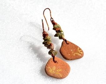 Beach Pottery Earrings Copper Earrings Long Chip Bead Earrings Brown Ancient Ceramic Earrings Handmade Earrings from Israel Free Shipping