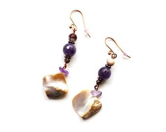 Dangle Amethyst earrings Contemporary Seashell pieces earrings Tribal Mother of the pearl earrings Bohemian Handicraft Copper jewelry womens