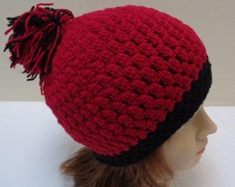Cherry Red Pompom Beanie Hat - Cherry Red Black Rimmed Edge Tassel Pompom Crocheted Beanie Hat - Black Crochet Skull cap hat -by lanesamarie