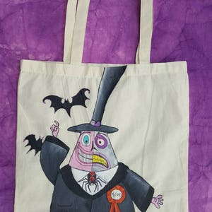 Nightmare Before Christmas Hand Painted Town Mayor Split Personality Tote Shopping Bag