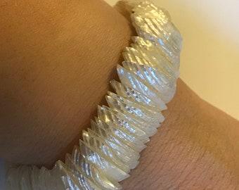 Sliced Iridescent Beach Seashell Stretch Bracelet