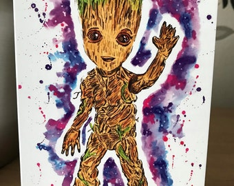 Baby Groot. Inky Style Greeting Card. A6. PRINT