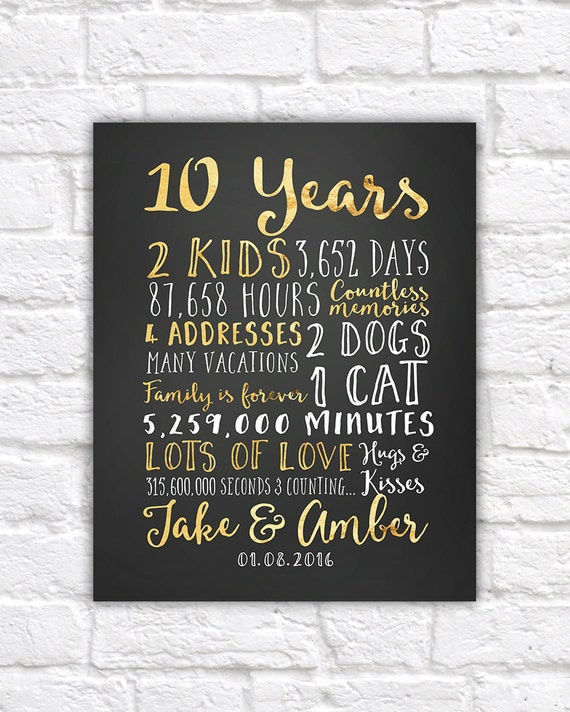 Wedding Anniversary Gifts For Her: Wedding Anniversary Gifts For Him Paper Canvas 10 Year