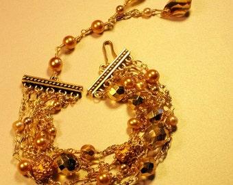Champagne toast multi strand  bracelet