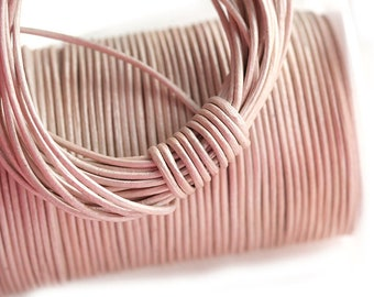 1mm Beige Pink Round Natural Leather cord - Taupe Pink - 10 feet, LC077