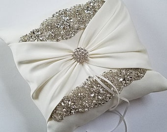 """Large 9 x 9"""" Wedding Ring Pillow, Wedding Cushion with Rhinestone and Pearl Detail, Ring Bearer Pillow - The Addison Pillow"""