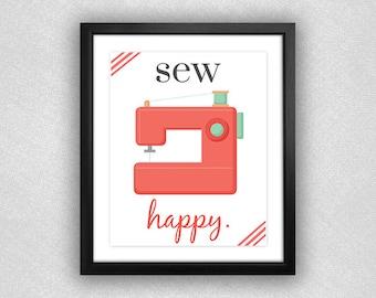 "Coral Sewing Machine ""Sew Happy"" Printable. 8x10."