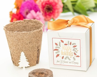 """Mini """"Grow A Tree"""" Garden Gift Set Holiday Party Favors, Unique Personalized Gift Idea """"Happy Holidays"""" Gift Box, Bulk, Quantity Discounts"""