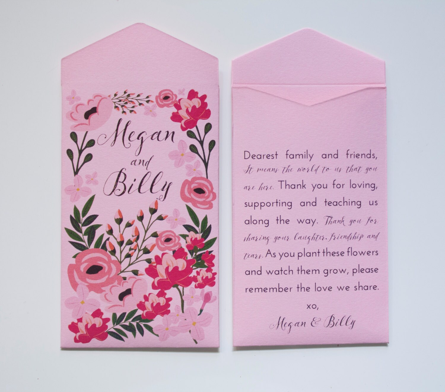 Garden Wedding Pink Seed Packet Wedding Favors Personalized