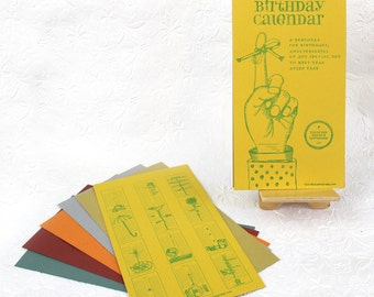 Perpetual Birthday Calendar // Continuous Calendar // Letterpress Illustrations