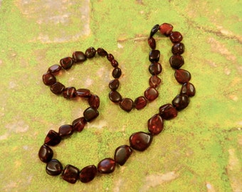 Vintage Deep Cognac Amber Irregular Pebble Bead Necklace With Hidden Clasp Re-Strung  By Kathryne L. Wright