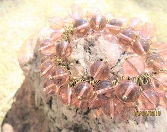 Cha Cha Bracelet Pink Glass Beads Vintage Jewelry Gift Idea Stretch Fun Bangle Summertime One Size