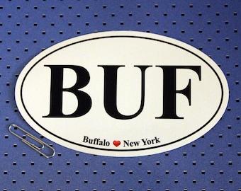 Buffalo, New York (BUF) Oval Bumper Sticker