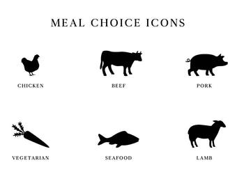 Wedding Meal Choice - Meal Choice Icons - Beef, Chicken, Pork, Vegetarian, Seafood, Fish, Lamb - Wedding Clipart - Instant Download