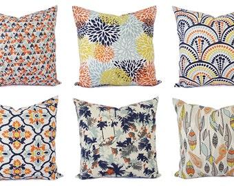 Orange Navy Pillow Cover - Orange Pillow Cover - Navy Decorative Pillow - Orange Throw Pillow - Navy Throw Pillow - Lumbar Pillow Euro Sham