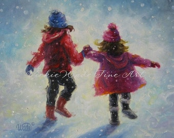 Sisters Art Print two sisters snow holding hands, two girls snow wall art, children snow paintings, snow sisters wall art, Vickie Wade art