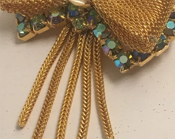 Vintage Sparkling Goldtone Mesh Bow Pendant Brooch Pin with Aurora Borealis Rhinestones and Dangling Fringe Tassels