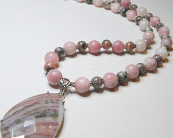 """20 """" Pink Opal, Rhodochrosite Necklace with Large Ocean Jasper Faceted Pendant (set in sterling silver), Floral Sterling Silver Toggle Clasp"""