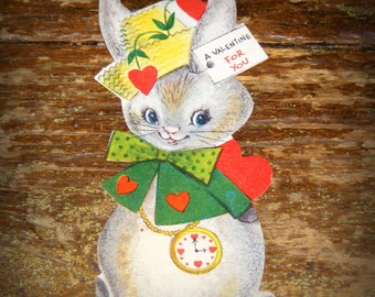 Vintage Valentine School Card Bunny Rabbit with Heart Pocket Watch
