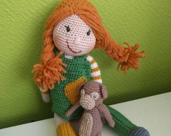 Merry Crochet Pippi doll, with monkey.
