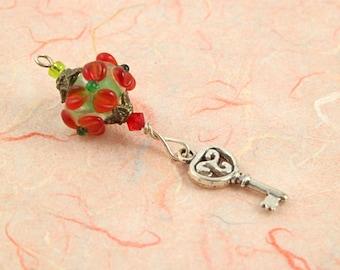 Blessingway bead - Red Flower Key - Mother Blessing bead, mama goddess