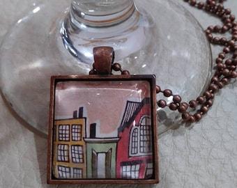 Glass Tile Urban City Pendant Necklace