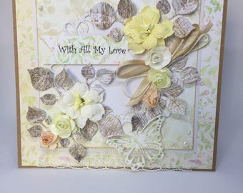 Unique Floral Card for Any Occasion, Handmade Card, Design Papers, Vintage Style, Pearl Embellishment, Shabby Chic Card, Handcrafted Card