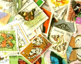 20 x butterfly postage stamps | world modern + vintage random mixed used stamps | for crafting, collage, upcycling, decoupage, collecting