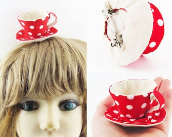 MADE-TO-ORDER ( 1 - 2 Weeks)- Miniature Teacup Hair Slide  for Children & Adults- Red Spots 8mm