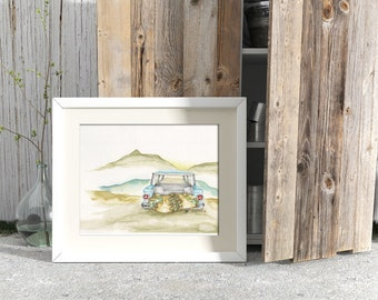 Watercolor, Wall art, painting, watercolor painting, Ford falcon wagon, road trip, wanderlust