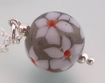 "Lampwork Glass Floral Posy Pendant - Handmade Round Glass Pendant with Narcissus flowers,  Sterling Silver, 16"" or 18"" chain"