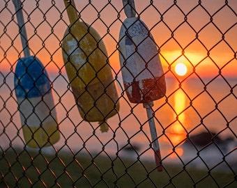 Buoys hanging on the fence at sunrise Salem Willows. Nautical Decor, ocean decor, ocean print, ocean photography, buoy photography