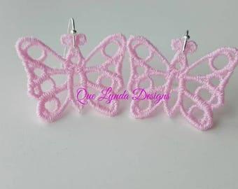 Handmade Butterfly Lace Earrings